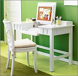 White Wood Desk Vanity from Crate & Barrel