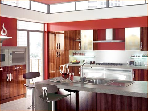 Contemporary Kitchen Wood Cabinets