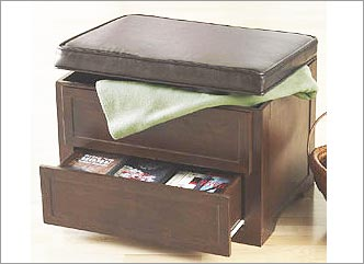 Wood Storage Ottoman With Drawers