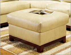 Wood and Leather Ottoman