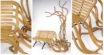 Twisted Wooden Bench