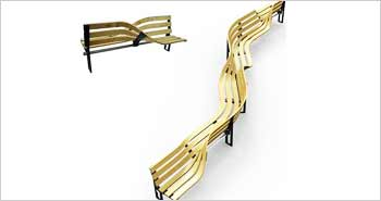 Twisting Artistic Wooden Bench