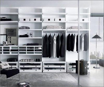 Walk-in Closet Wardrobe - White Wooden Wardrobe