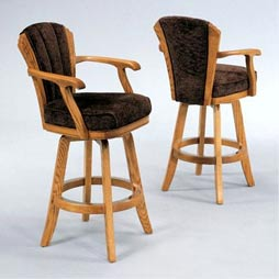 Solid Wood Construction Bar Stool With Armrest And Back